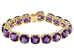 Pre-Owned Purple Amethyst 18k Yellow Gold Over Sterling Silver Bracelet 55.00ctw