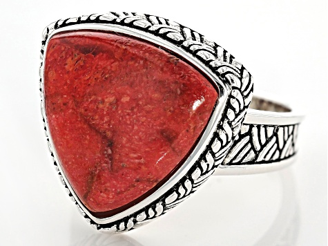 Pre-Owned Red sponge coral sterling silver solitaire ring