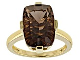 Pre-Owned Brown smoky quartz 18k gold over silver ring 5.53ct