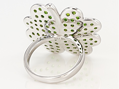 Pre-Owned Green Russian Chrome Diopside Rhodium Over Silver Ring 2.42ctw