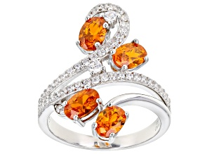Pre-Owned Orange And White Cubic Zirconia Rhodium Over Sterling Silver Ring