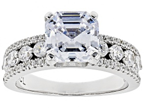 Pre-Owned White Cubic Zirconia Rhodium Over Sterling Silver Center Design Ring 4.60ctw