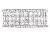 Pre-Owned White Cubic Zirconia Rhodium Over Sterling Silver Ring 6.71ctw
