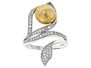 Pre-Owned 8-9mm Golden Cultured South Sea Pearl  with 0.37ctw White Topaz Rhodium over  Silver Flora
