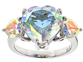 Pre-Owned Mercury Mist® Topaz Rhodium Over Sterling Silver Ring 7.69ctw
