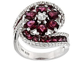 Pre-Owned Purple raspberry color rhodolite rhodium over silver ring 4.98ctw