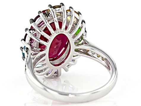 Pre-Owned Red lab created ruby rhodium over silver ring 7.12ctw