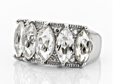 Pre-Owned White crystal quartz rhodium over sterling silver ring 3.70ctw