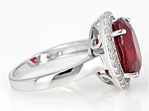 Pre-Owned Red Mahaleo® Ruby  Rhodium Over Sterling Silver Ring 4.27ctw