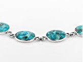 Pre-Owned Blue turquoise rhodium over sterling silver bracelet