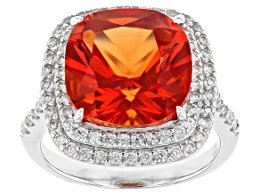 Pre-Owned Orange Lab Created Padparadscha Sapphire Rhodium Over Silver Ring 10.85ctw