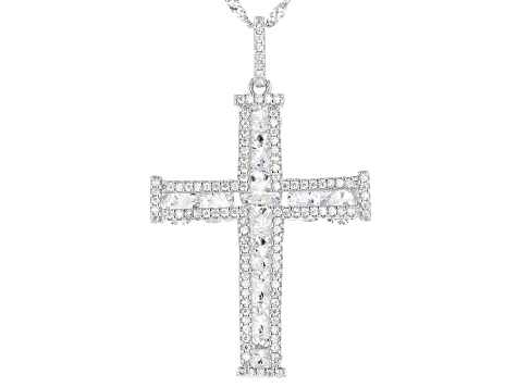 Pre-Owned White Cubic Zirconia Rhodium Over Sterling Silver Cross Pendant With Chain 11.84ctw