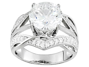 Pre-Owned White Cubic Zirconia Rhodium Over Sterling Silver Ring 5.16ctw