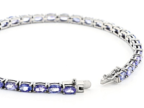 Pre-Owned Blue Tanzanite Rhodium Over Sterling Silver Bracelet 7.70ctw