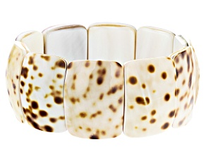 Pre-Owned Brown and White Shell Stretch Bracelet