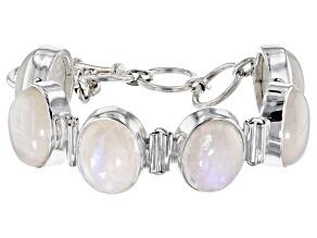 Pre-Owned Rainbow Moonstone Sterling Silver Adjustable Bracelet