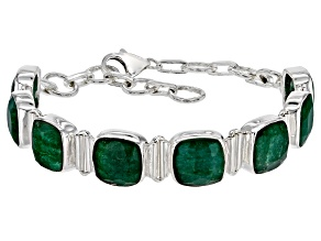 Pre-Owned Green Beryl Sterling Silver Station Bracelet