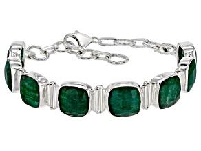 Pre-Owned Green Beryl Sterling Silver Station Bracelet