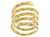 Pre-Owned 18k Yellow Gold Over Bronze Polished Spiral Ring