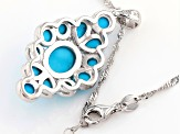 Pre-Owned Blue Sleeping Beauty turquoise rhodium over silver pendant with chain