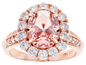 Pre-Owned Pink Morganite Simulant and White Cubic Zirconia 18k Rose Gold Over Silver Ring 4.60ctw