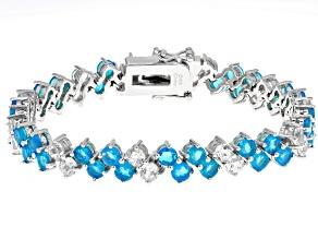 Pre-Owned Blue Ethiopian Opal Silver Bracelet 11.60ctw