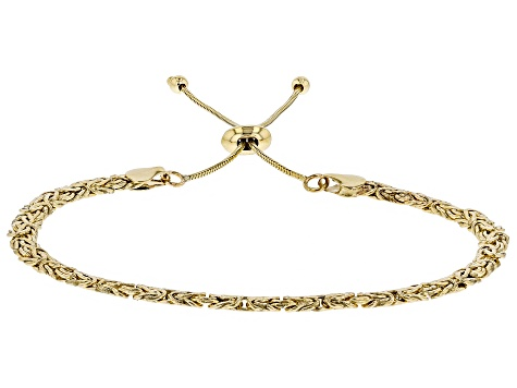 Pre-Owned 10k Yellow Gold Byzantine Sliding Adjustable Bracelet