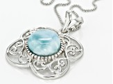 Pre-Owned Blue Larimar Sterling Silver Pendant With Chain