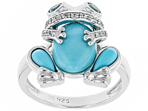 Pre-Owned Blue turquoise rhodium over silver frog ring .33ctw
