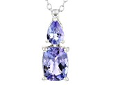 Pre-Owned Blue tanzanite rhodium over silver pendant with chain 1.61ctw