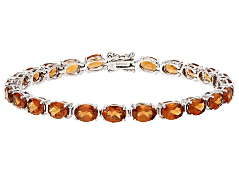 Pre-Owned Red Hessonite Garnet Sterling Silver Bracelet 22.00ctw