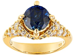 Pre-Owned Lab Created Sapphire & White Cubic Zirconia 18k Yellow Gold Over Silver Ring 4.30ctw