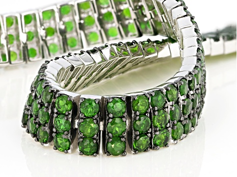 Pre-Owned Green Chrome Diopside Rhodium Over Silver Bracelet 12.25ctw