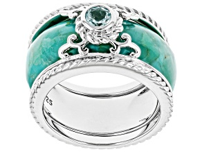 Pre-Owned Blue Turquoise Rhodium Over Silver 2-Ring Set .29ct
