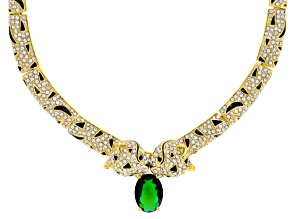 Pre-Owned White And Green Crystal Black Enamel Gold Tone Jaguar Necklace