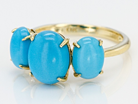 Pre-Owned Blue Sleeping Beauty Turquoise 10k Yellow Gold Ring