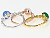 Pre-Owned Multi-Gemstone Rhodium, 18k Rose & Yellow Gold Over Sterling Silver 3 Ring Set
