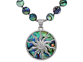 Pre-Owned Multi-color abalone shell silver bead necklace