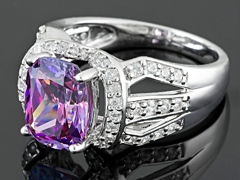 Pre-Owned Purple & White Zirconia from Swarovski ® Rhodium Over Silver Ring 5.95ctw