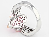 Pre-Owned Pink And White Cubic Zirconia 18K Rose Gold & Rhodium Over Sterling Silver Ring 6.65CTW