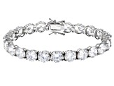 Pre-Owned White Cubic Zirconia Rhodium Over Sterling Silver Bracelet 51.55CTW