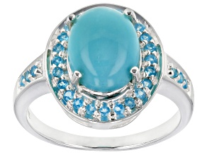 Pre-Owned Blue turquoise sterling silver ring .22ctw