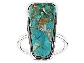 Pre-Owned Blue Turquoise in Matrix Rhodium Over Silver Ring