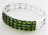 Pre-Owned Green Russian Chrome Diopside Sterling Silver Bangle Bracelet 14.68ctw.