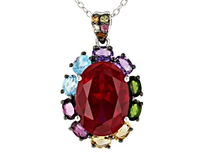 Pre-Owned Red lab created ruby rhodium over silver pendant with chain 7.06ctw