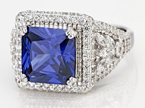 Pre-Owned Blue & White Cubic Zirconia Rhodium Over Sterling Silver Center Design Ring 10.44ctw