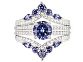 Pre-Owned Blue And White Cubic Zirconia Rhodium Over Sterling Silver 4.19CTW