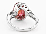 Pre-Owned Orange lab created padparadscha rhodium over  silver ring 4.16ct
