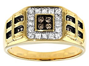 Pre-Owned Champagne And White 14k Yellow Gold Over Sterling Silver Gents Ring 0.50ctw