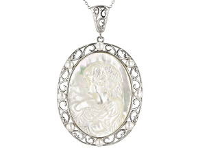 Pre-Owned White Mother-Of-Pearl & Cultured Freshwater Pearl, Rhodium Over Silver Cameo Pendant With